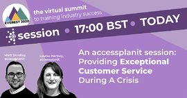 providing exceptional customer service during a crisis accessplanit webinar cover image