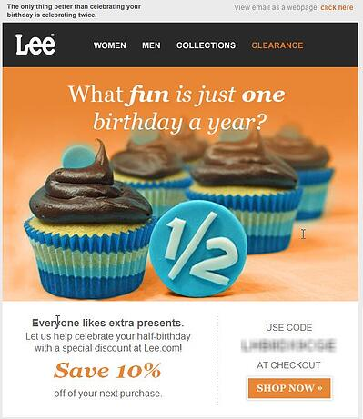 Lee offers half-birthday special discount or deal