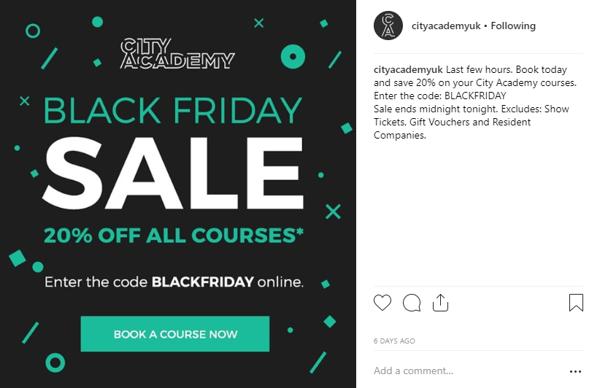 City Academy Black Friday promo Instagram