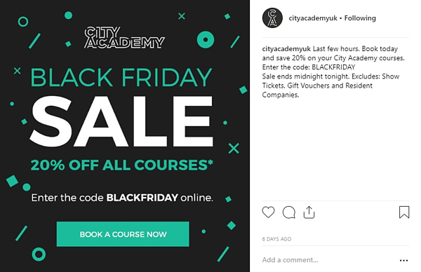 City Academy Black Friday promo Instagram
