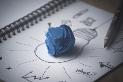 Light bulb mind map drawing with plans and ideas on notebook