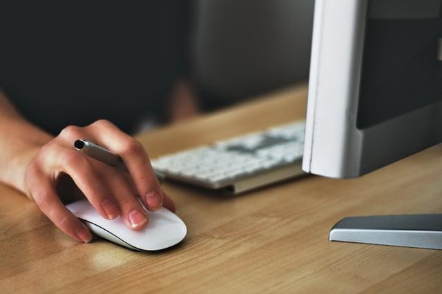 Man googling on computer