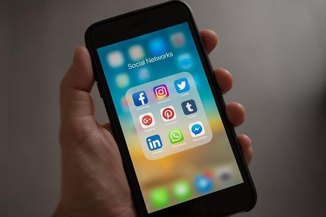 Social Networks on phone screen