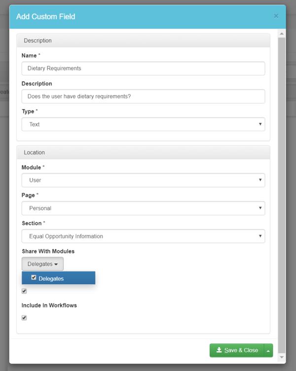 custom fields inside accessplanit training management software
