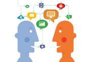 Two characters talking about technology - speech bubbles above head on white background