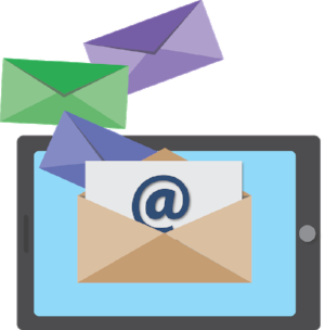 Vector image of mobile tablet with email messages coming out of screen