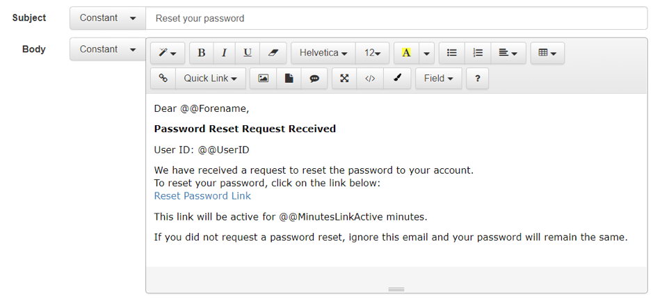 password reset email from accessplanit tms