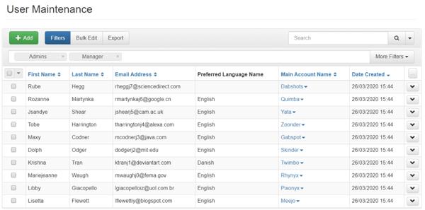 user maintenance screen accessplanit