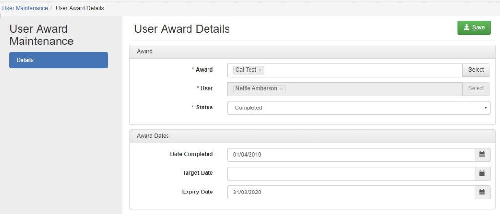 user award management example