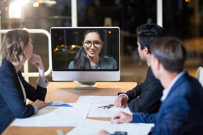 people chatting over video call