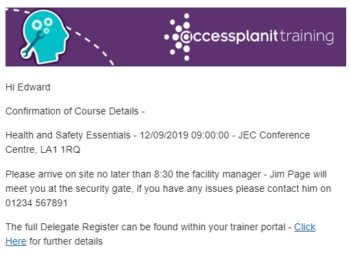 Course Confirmation accessplanit
