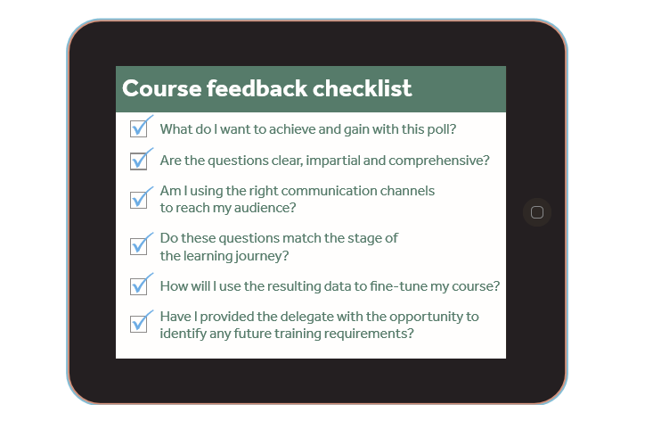 Course feedback checklist collected through training management system