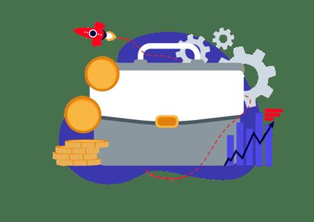 business case illustration with rocket behind