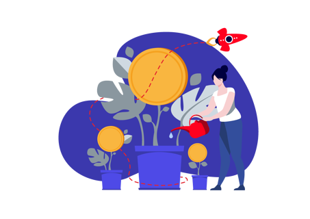 cost and ROI illustration man watering money plant