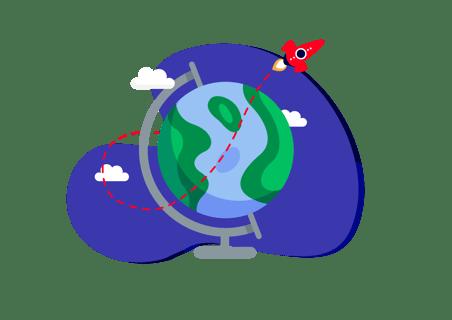 accessplanit globe illustration with rocket