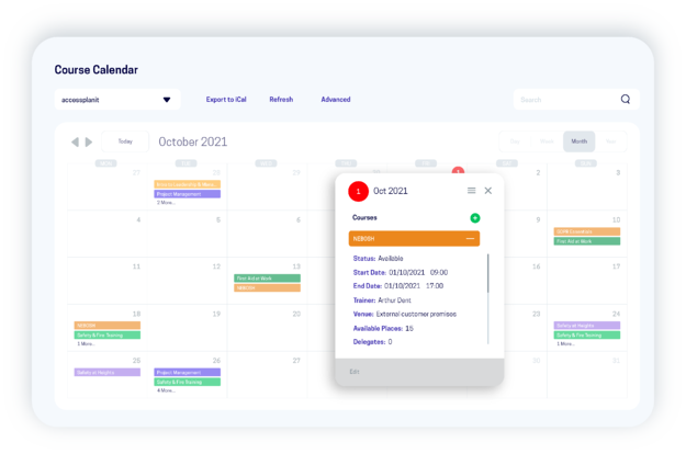 course calendar within training management system
