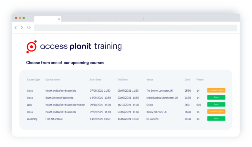accessplanit live feed of courses on website