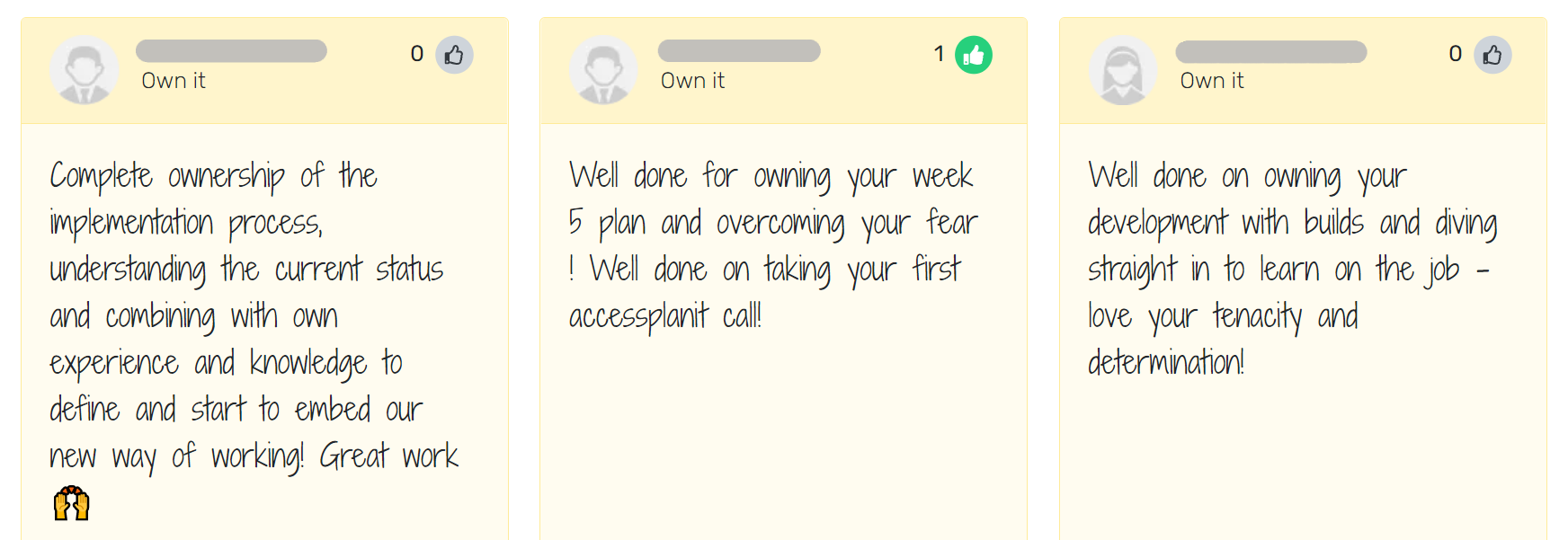 screenshot of kudos given on breathe hr system
