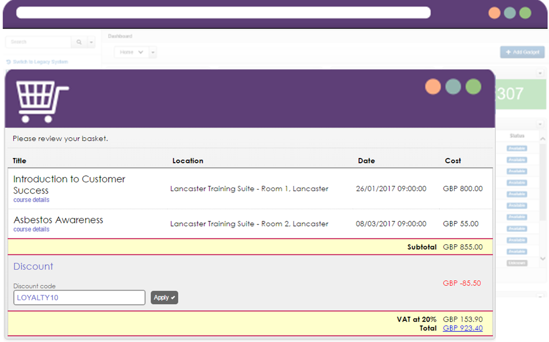 Example of online course booking via a training management software system