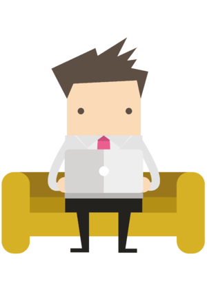 Happy customer sat on sofa