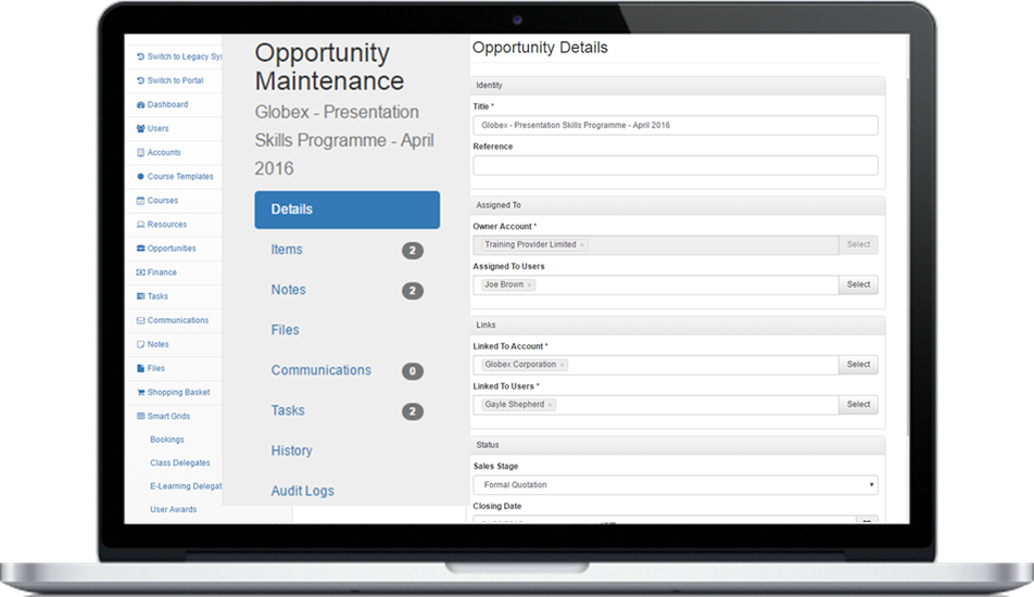 Dashboard of course management software for training companies