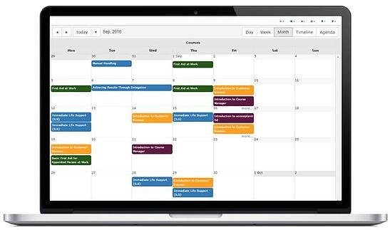 Course calendar in Training Management System