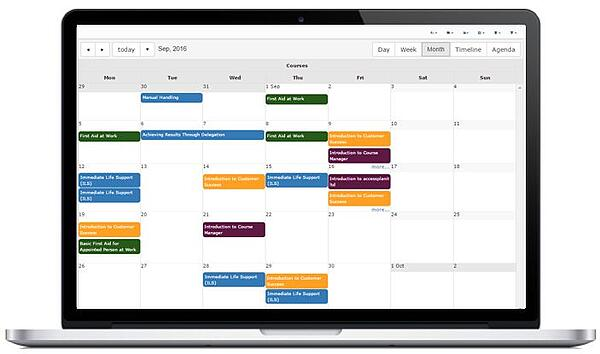 training management, digital course booking calendar