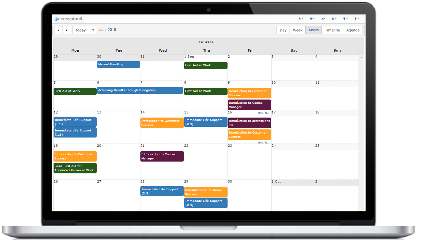 Course calendar to manage courses and resources