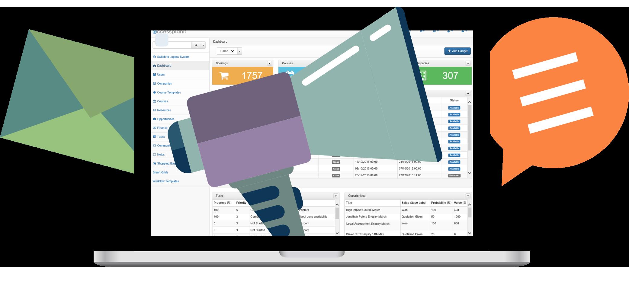 Training company software dashboard