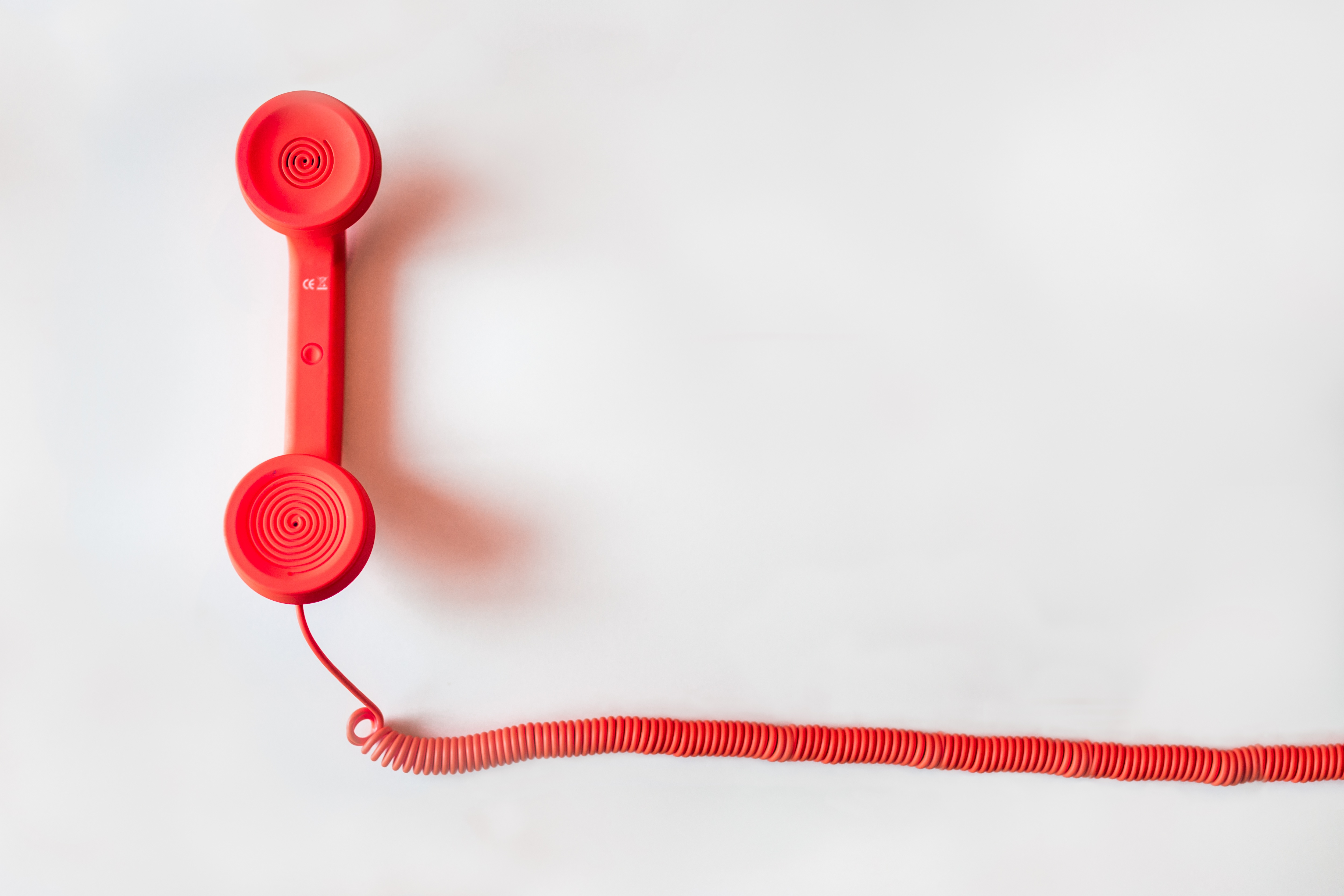 Red telephone with wire