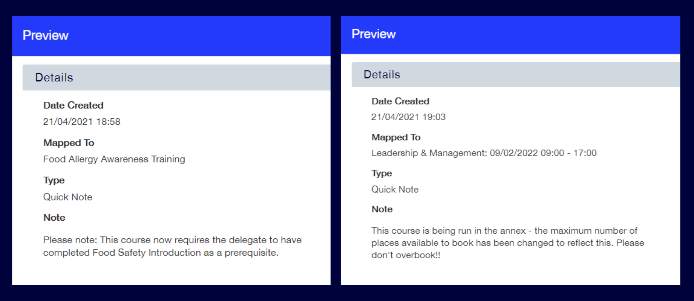 examples of changes to course notes