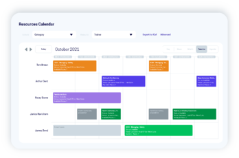 resource calendar within accessplanit's course management system