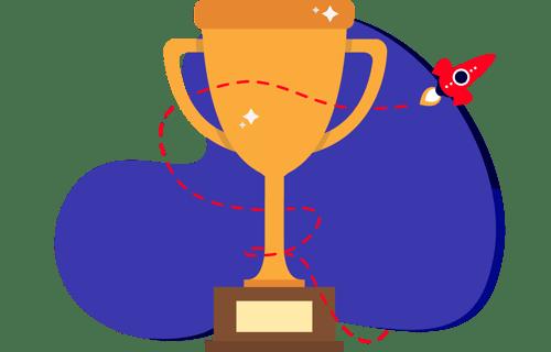 illustration of trophy with rocket flying behind training management system