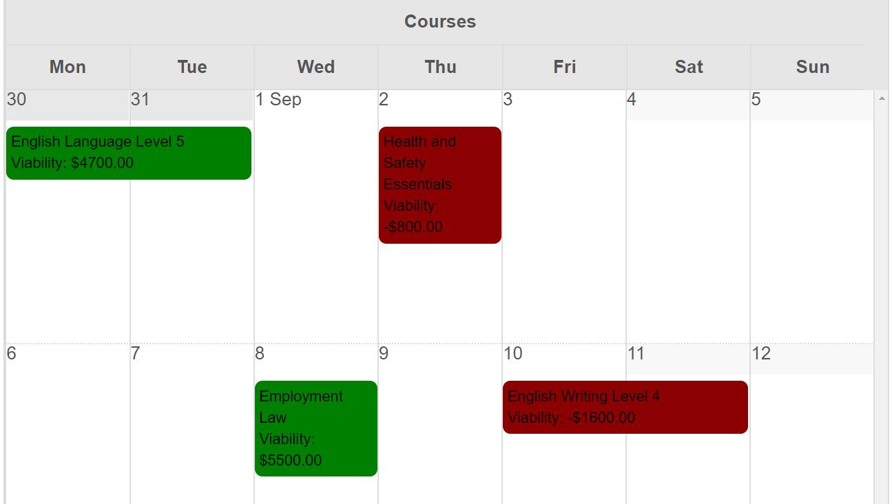 course calendar viability and profitability training