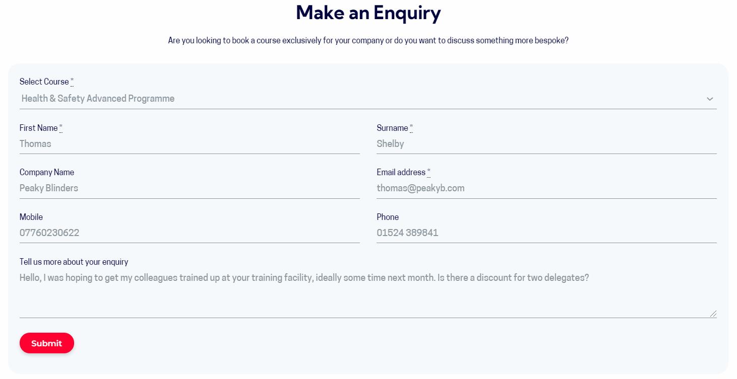 enquiry through accessplanit