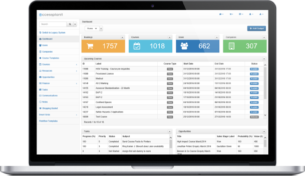 Dashboard overview to schedule or amend courses and eliminate resource clashes
