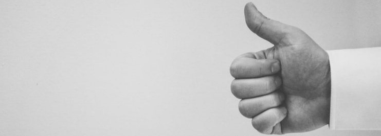 Thumbs up black and white
