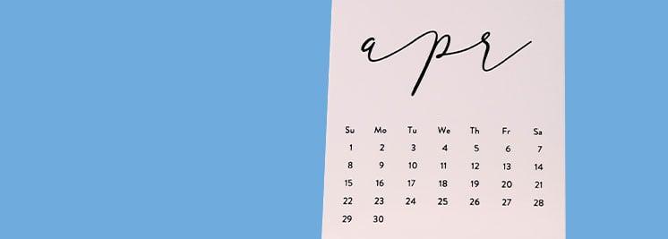 april written on a calendar