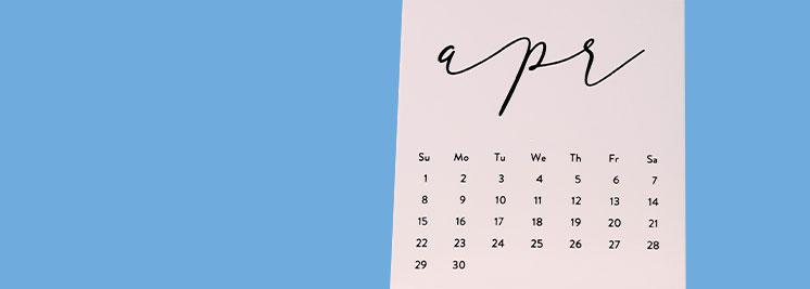 April calendar- banner for April product release