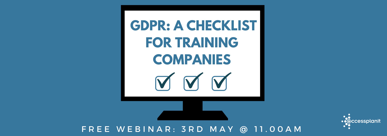 GDPR:  A checklist for training companies webinar