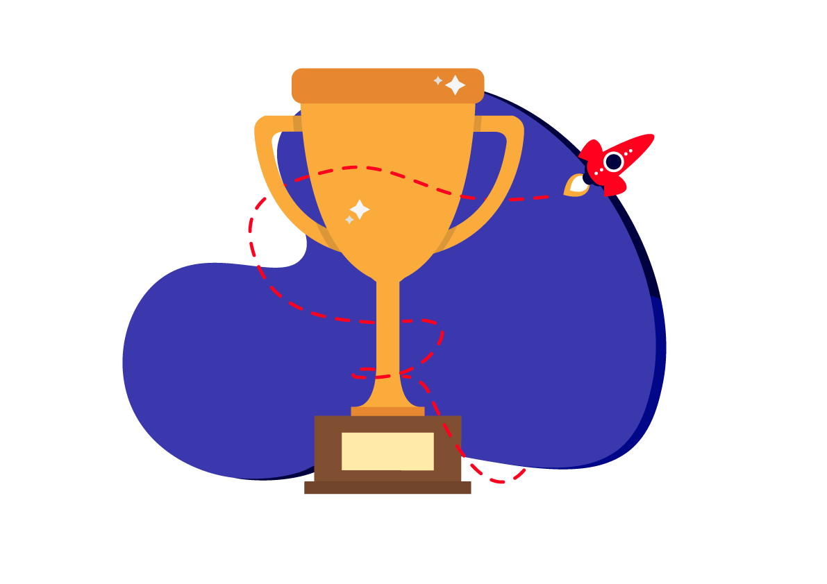 trophy on blue background with rocket