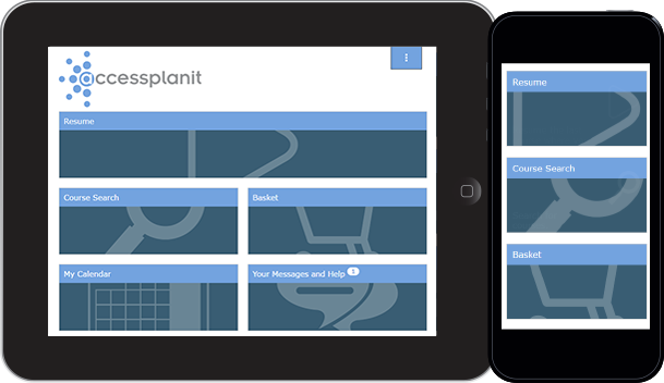 The training management system's Learner portal to deliver online training materials
