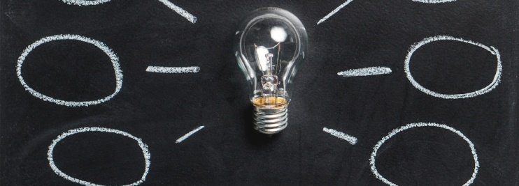 Light bulb with ideas drawn with chalk