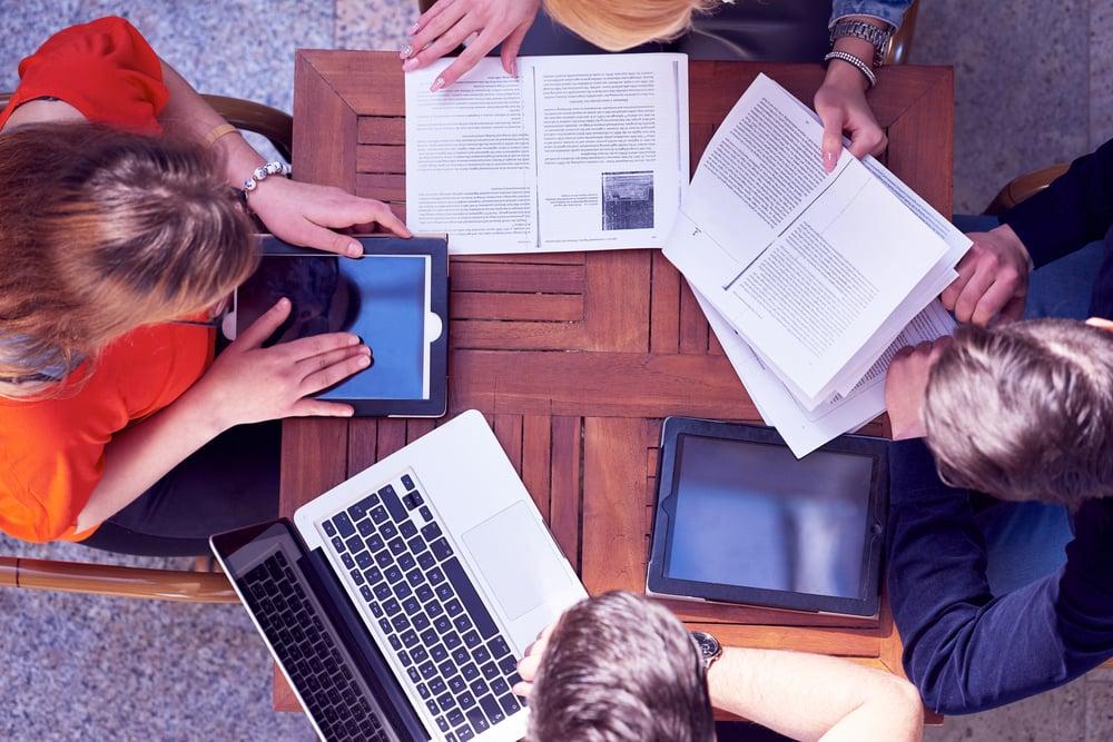 students working together at desk