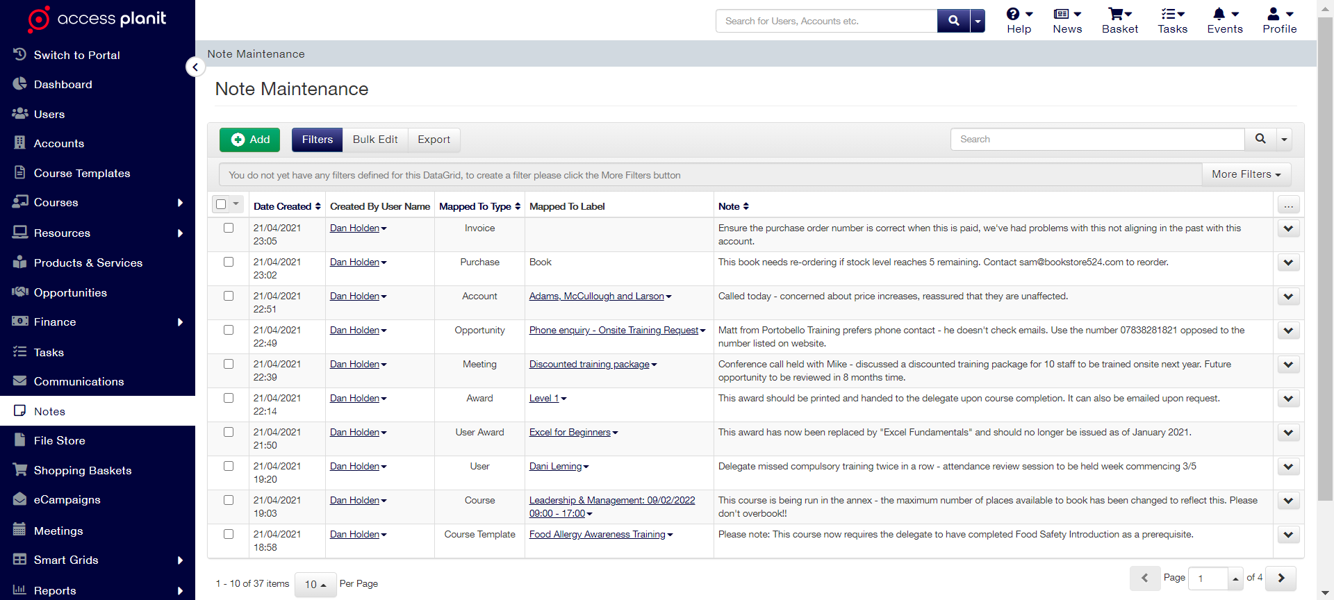 examples of notes being logged within accessplanits training management platform